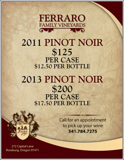 2011 and 2013 Pinot Noir case specials poster